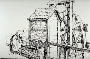 Fontana di una tempo. L'alimentazione avveniva tramite una noria che atti geva e sollevava l'acqua del fiume tramite una ruota meccanica a pale