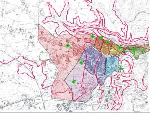 Planimetria del territorio con ubicazione delle vasche di carico e con i confini delle zone omogenee