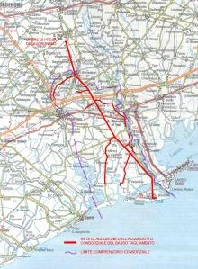 Planimetria acquedotto del Consorzio Basso Tagliamento Cliccare per ingrandire