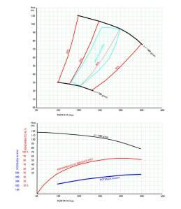 Diagrammi delle curve di funzionamento delle pompe a velocità variabile installate alle fonti dell'acquedotto. Con grande lungimairanza si sono0minstallate pompe a corrente continua ai tempi necessaria per modulare la velocità di rotazione