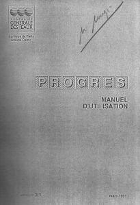 Copertina della guida d'uso del programma Progres di calcolo delle mreti magliate (anno 1991)