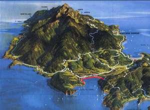 Veduta prospettica della piana di Marina di Campo. In rosso il tracciato del diaframma