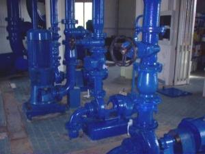 L'impianto di pompaggio in rete con le pompe originali ad asse orizzontale e quelle recenti a girante immersa nel sottostante serbatoio